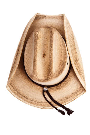 cowboy background: Top view of a cowboy hat isolated on white