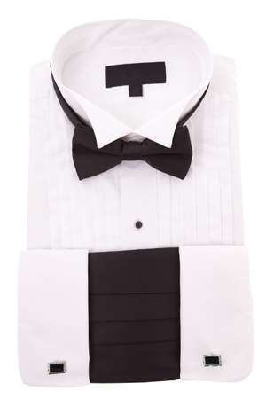 White tuxedo shirt and tie isolated on a white background photo