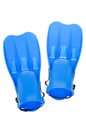 snorkle: Blue swim fins isolated on a white background Stock Photo