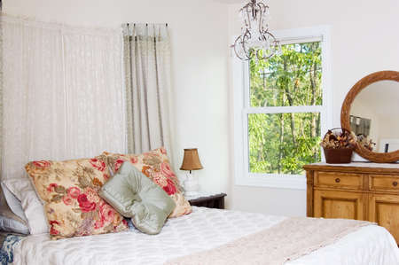 Shabby chic bedroom in a new home photo