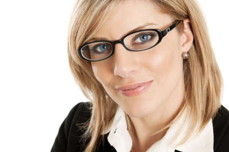 Business woman with glasses portrait isolated on a white background photo