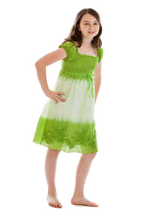 Full length 10 year old girl portrait isolated on white