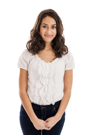 Tween girl standing portrait isolated on a white background