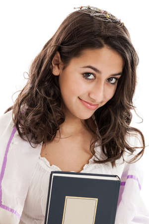 jewish: Tween Jewish girl portrait isolated on a white background Stock Photo