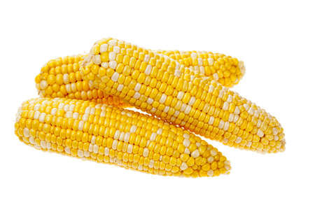 yellow corn: Three ears of corn on the cob isolated on a white background