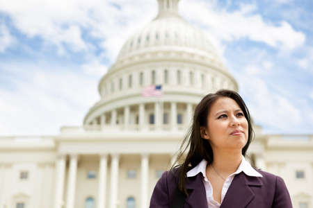 Asian business woman at the US Capitol building in Washington DC