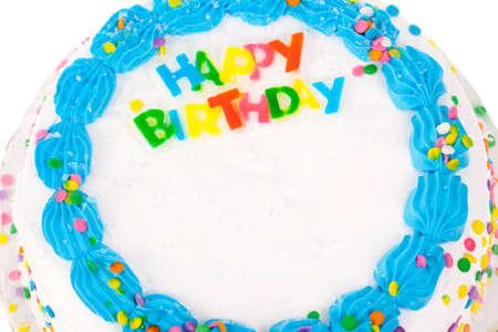 pastel de cumplea�os: Torta de cumplea�os con espacio para la copia Foto de archivo