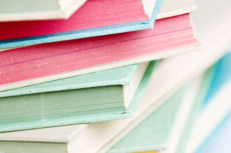 staggered: Stack of books close up