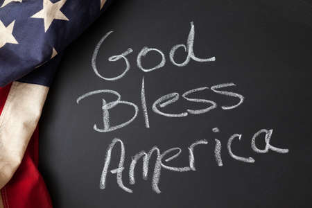 God Bless America sign on a chalkboard Imagens