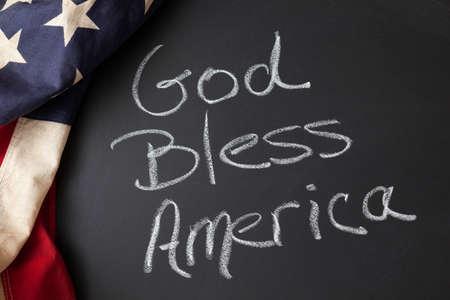 god bless: God Bless America sign on a chalkboard Stock Photo