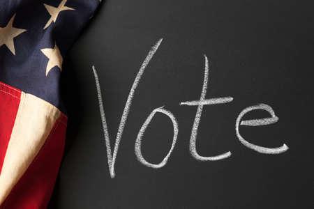 i voted: Vote sign on a chalkboard