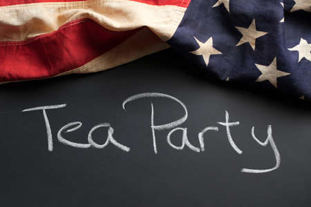 political party: Tea Party sign on a chalkboard