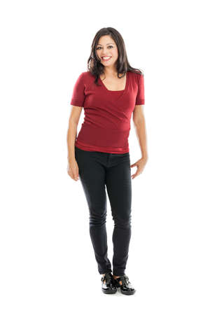 one mid adult woman: Full length mixed race woman portrait isolated on white