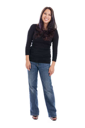 Full length Asian woman portrait isolated on white Stock fotó - 19802598
