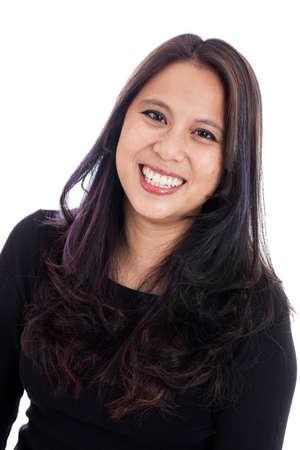 흰색으로 격리 행복 가운데 세 아시아 여자의 초상화 스톡 콘텐츠