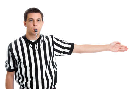 Teen boy referee giving sign for possession isolated on white
