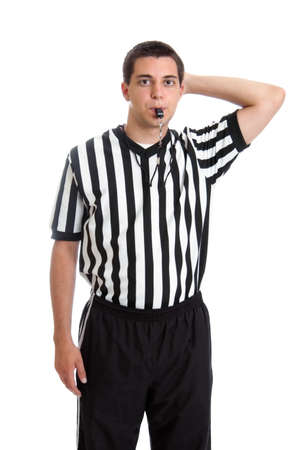 foul: Teen boy referee giving sign for offensive foul