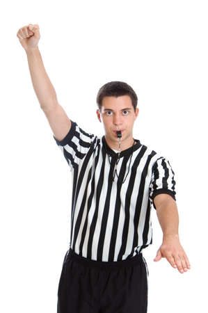 foul: Teen boy referee giving sign for foul isolated on white background