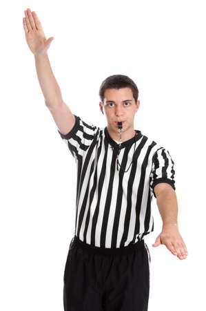 ref: Teen boy referee giving sign for violation isolated on white Stock Photo