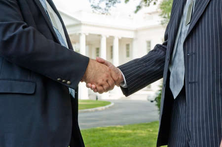 Business handshake at the White House