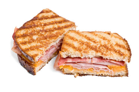 turkey bacon: Grilled turkey and cheese sandwich Stock Photo