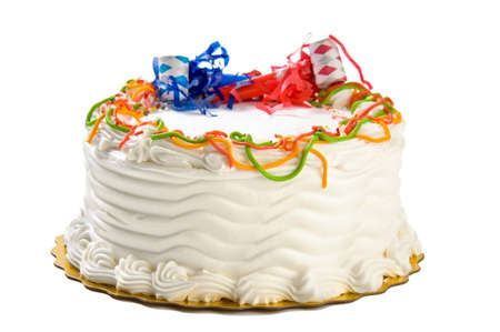 with white: Birthday cake isolated on white Stock Photo