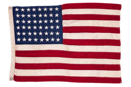 Vintage American flag isolated on white photo