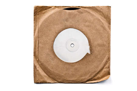 Vintage record in a sleeve isolated on white photo