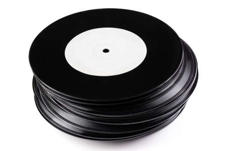 lps: Stack of vintage records isolated on white