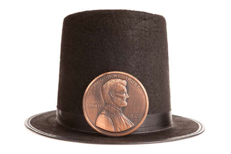 Abraham Lincoln hat and souvenir penny photo