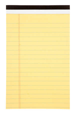 Pad of yellow lined paper isolated on white Stock Photo - 22063237