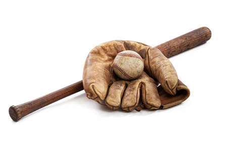 white glove: Vintage baseball, glove and bat isolated on white