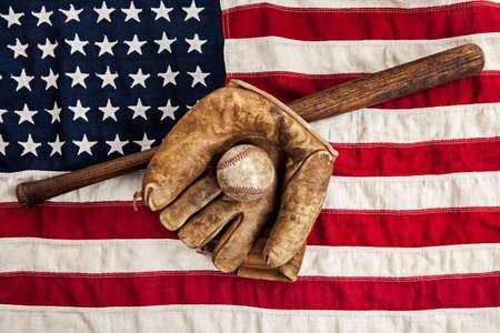 Vintage baseball and American flag photo