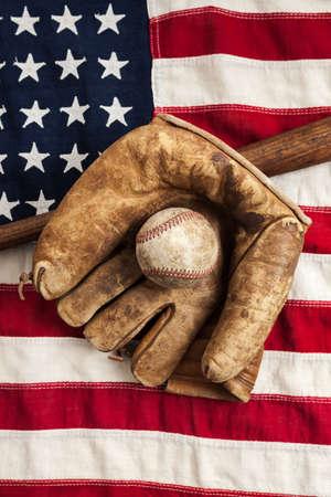 빈티지 야구와 미국 국기