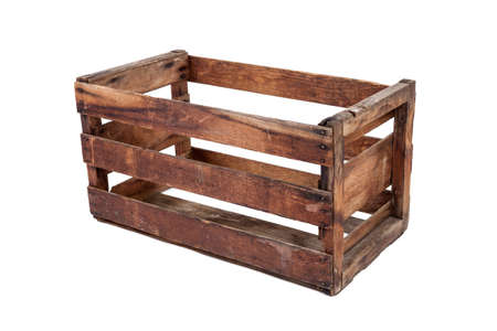 splintered: Vintage wooden crate isolated on white Stock Photo