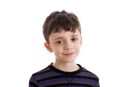 nine years old: Portrait of a 9 year old boy isolated on white Stock Photo