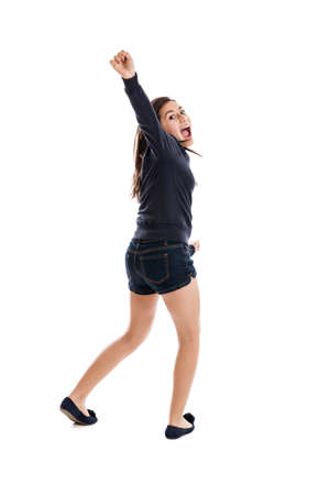 pre adolescence: Cheerful tween girl full length isolated on white Stock Photo