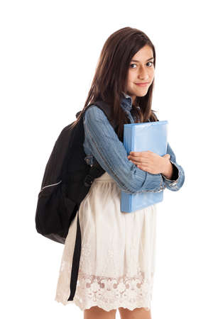 Tween girl student with folder isolated on white