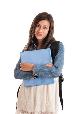 pre adolescence: Tween girl student with folder isolated on white