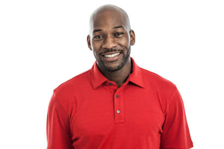 Portrait of a handsome black man in his 20s isolated on a white background Stock Photo