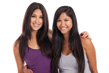 hispanics mexicans: Beautiful mixed race best friends portrait isolated on white