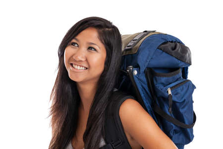 large woman: Young Asian woman wearing travel backpack isolated on white Stock Photo