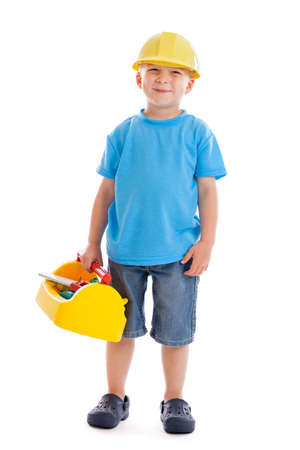 3 year old: 3 year old boy with construction toys isolated on white