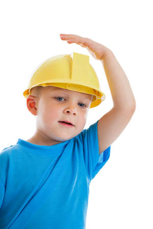 3 year old: 3 year old boy wearing construction hat isolated on white