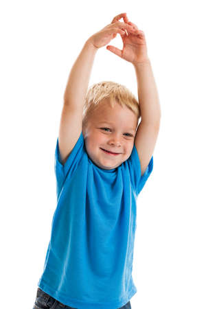 3 year old boy: 3 year old boy with arms in the air isolated on white