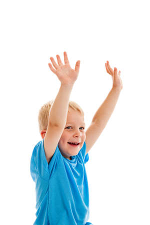 3 year old: 3 year old boy raising both hands isolated on white Stock Photo