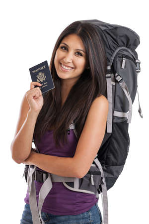 backpackers: Beautiful mixed race backpacker with US passport isolated on white Stock Photo