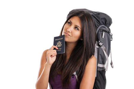 eye traveller: Beautiful mixed race backpacker with US passport isolated on white Stock Photo