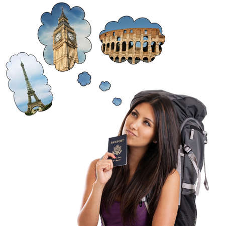 Beautiful mixed race backpacker dreaming of European vacation