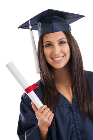 college graduate: Portrait of a beautiful mixed race Mexican Japanese college graduate isolated on white Stock Photo